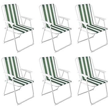 Silla de camping plegable - mobiliario del patio - De rayas ...