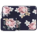 MOSISO Laptop Sleeve Compatible 13-13.3 Inch MacBook Pro, MacBook Air, Notebook with Small Case, Water Repellent Lycra Rose Pattern Protective Carrying Bag Cover, Navy Blue