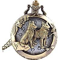 Reloj de bolsillo de cuarzo, diseño de lobo
