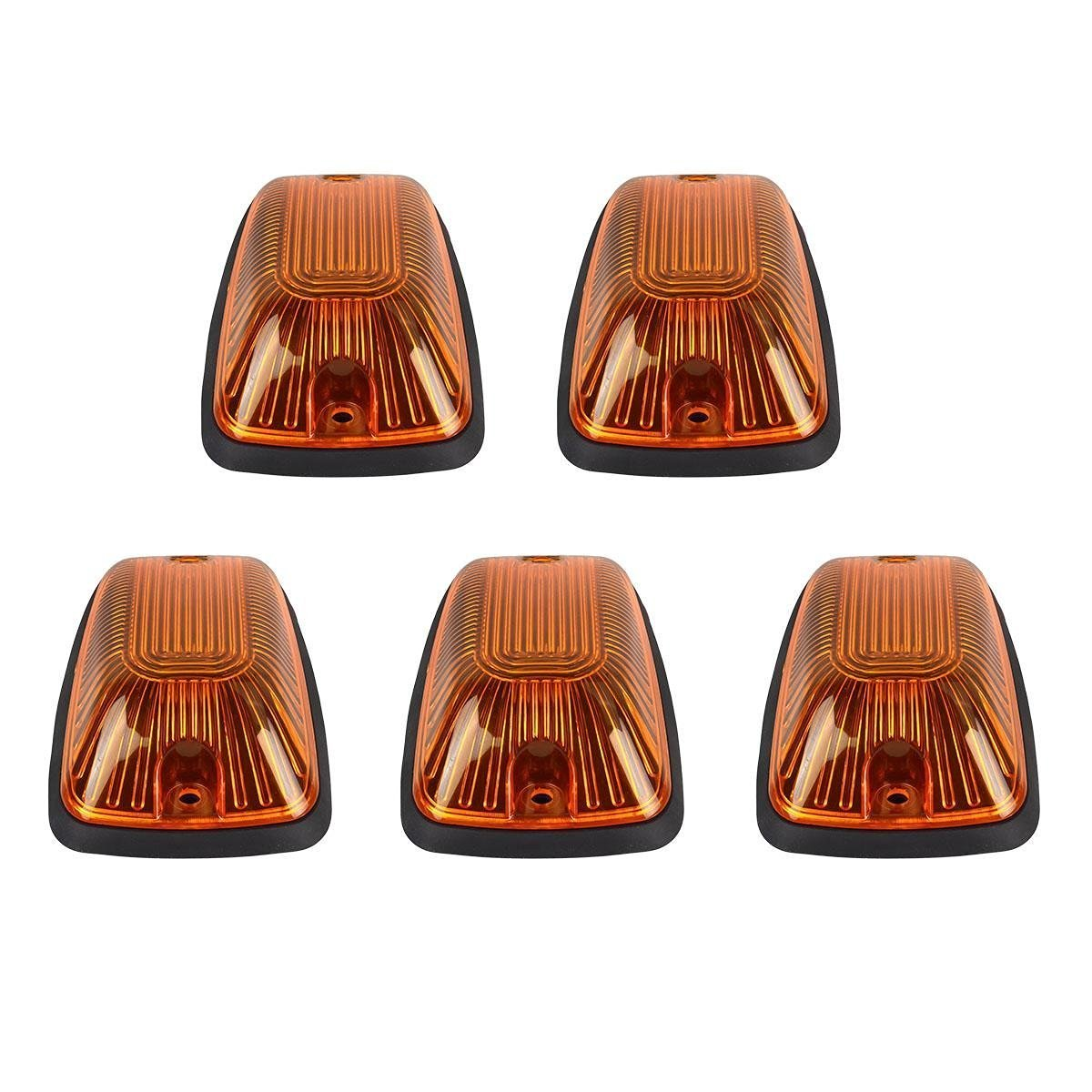 5pcs Amber Lens Cab Roof Marker Lights, KOMAS Roof Top Lamp Clearance Running Light Replacement for Truck SUV 1988-2002 Chevrolet Silverado GMC C/K (Amber Cover + Base) KMA CAB LIGHTS-103