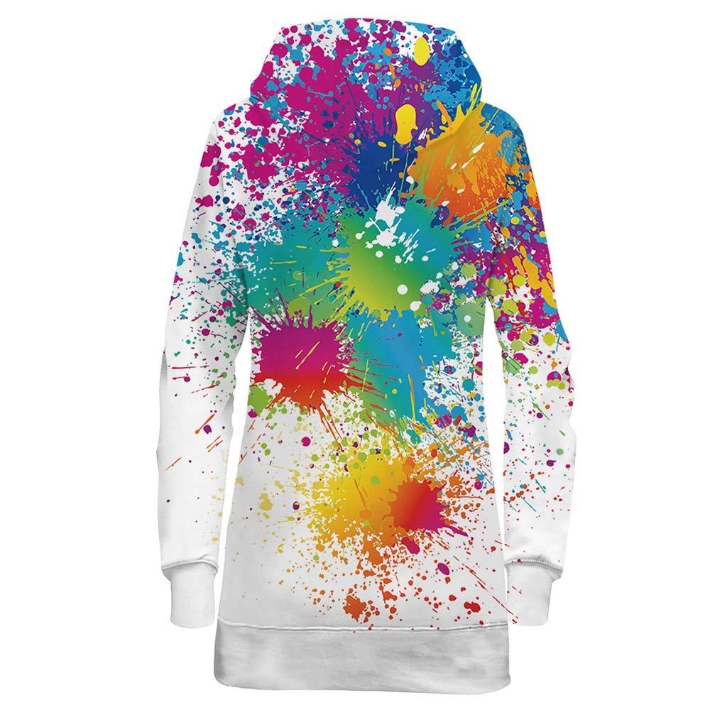 Bfustyle PulloverVestito Donna 3D Stampato Sgocciolatura Tasche Sport Pullover Vestito Taglie Forti per Ragazze Signore L