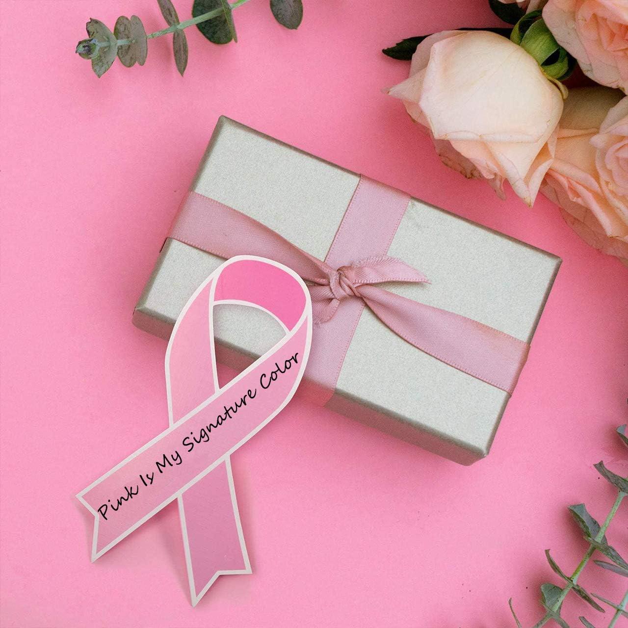 100 Pcs Pink Wooden Clips and 25 Yard Ribbon 100 Pcs Cutouts Support Cards Breast Cancer Awareness Pink Paper Ribbon