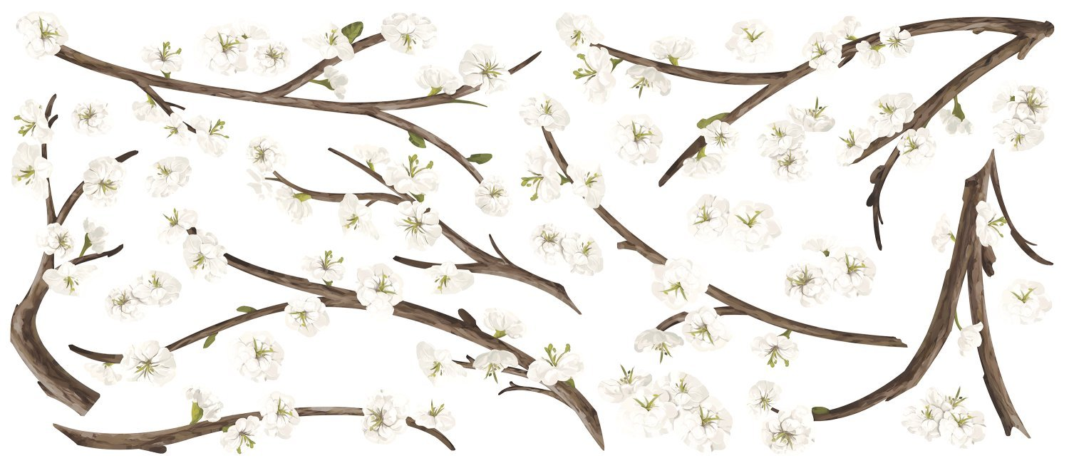 RoomMates White Blossom Branch Peel And Stick Giant Wall Decals with Flower Embellishments by RoomMates (Image #3)
