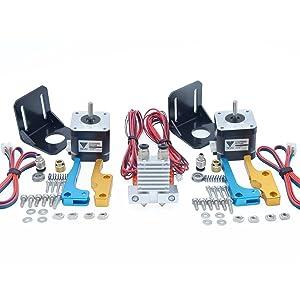 3D Printer Part TEVO Tarantula Dual Extruder Upgrade Fully Kits Dual Extruder& 3010 12V Cooling Fan with Two Nema 17 Step Motor