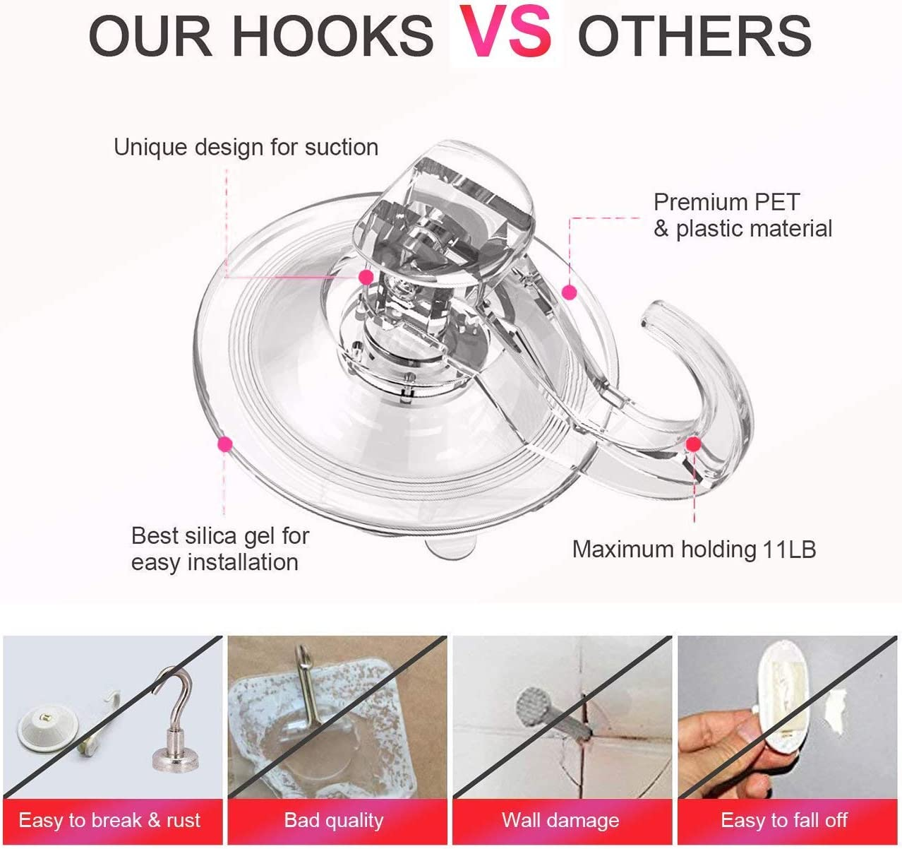 Elegear Ganchos Super Fuerte pl/ástico succi/ón Ultra Resistente Gancho Ventosa para el hogar Perchas 3 Pack Suction Hooks/ 3 Pack