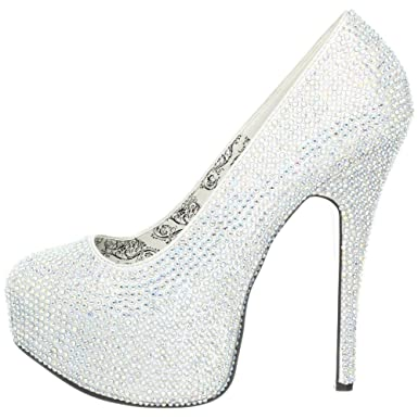 Amazon.com: Silver Rhinestone High Heel Platform Pump - 11: Clothing