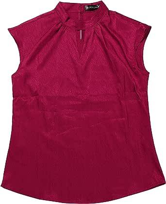 Allegra K Blusa Cuello Alto Gargantilla Ojo De Cerradura Camisa De Oficina Elegante para Mujeres