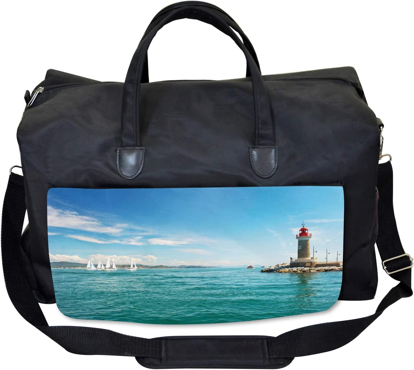 Sunny Day by the Sea Ambesonne Lighthouse Gym Bag Large Weekender Carry-on