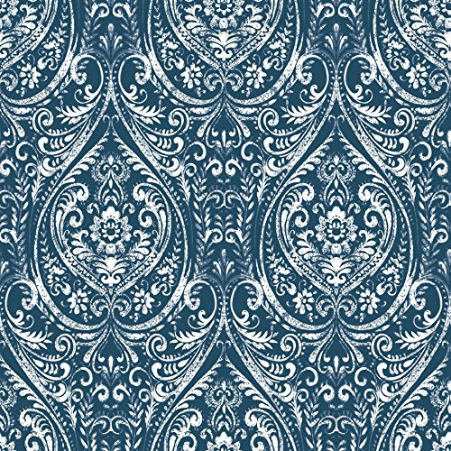 NuWallpaper NU1689 Bohemian Damask Indigo Peel & Stick Wallpaper ()