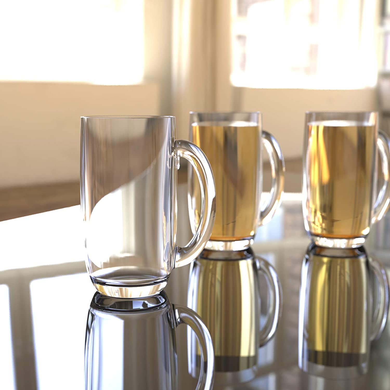 QG 21 Ounces Clear Acrylic Plastic Drinking Beer Mug Set of 4