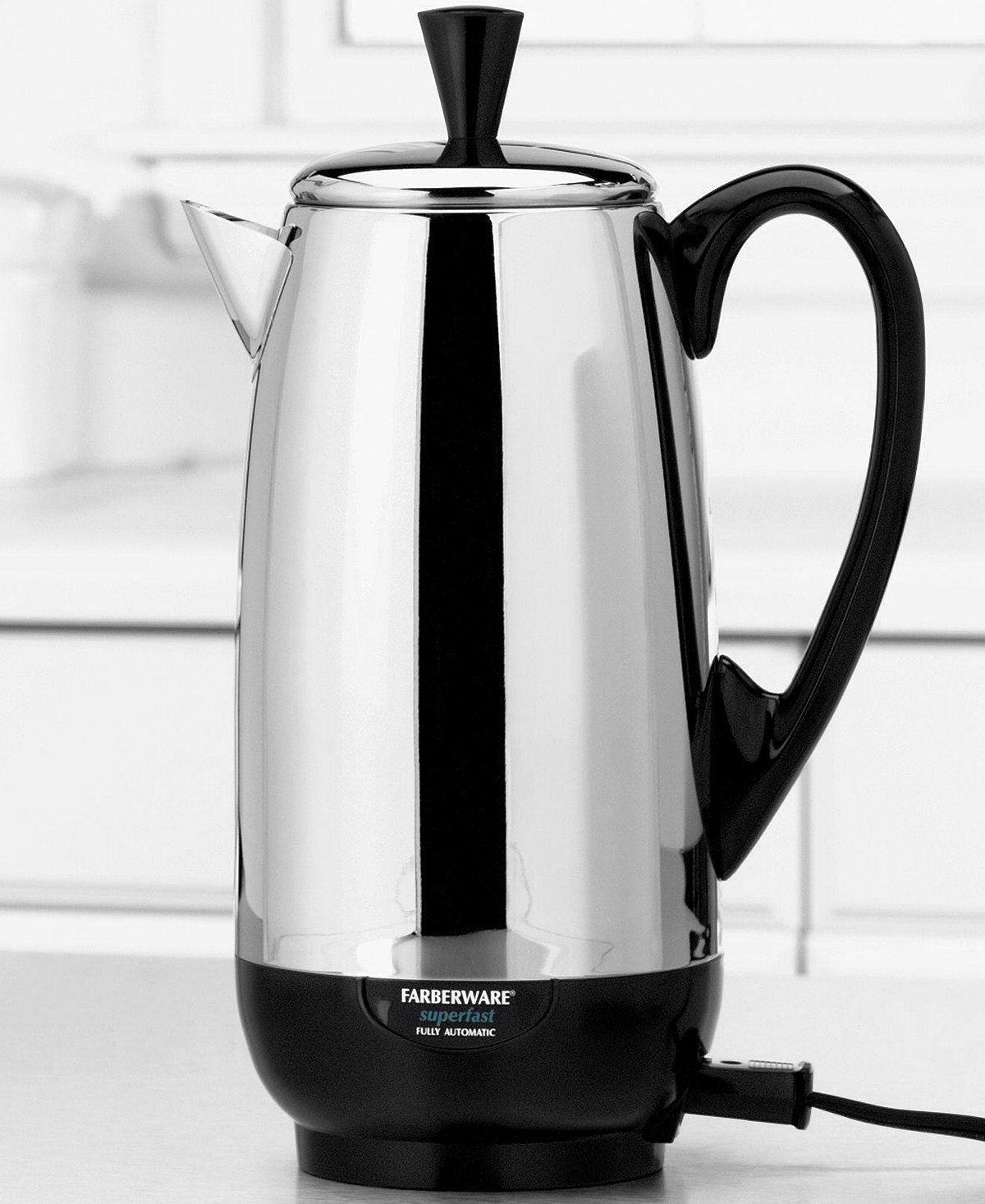 4-12 Cup Faberware Superfast STAINLESS Steel Percolator Fully Automatic - CHROME F ab erw are