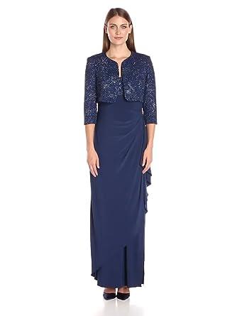Alex Evenings Women&39s Long Empire Waist Bolero Jacket Dress with ...
