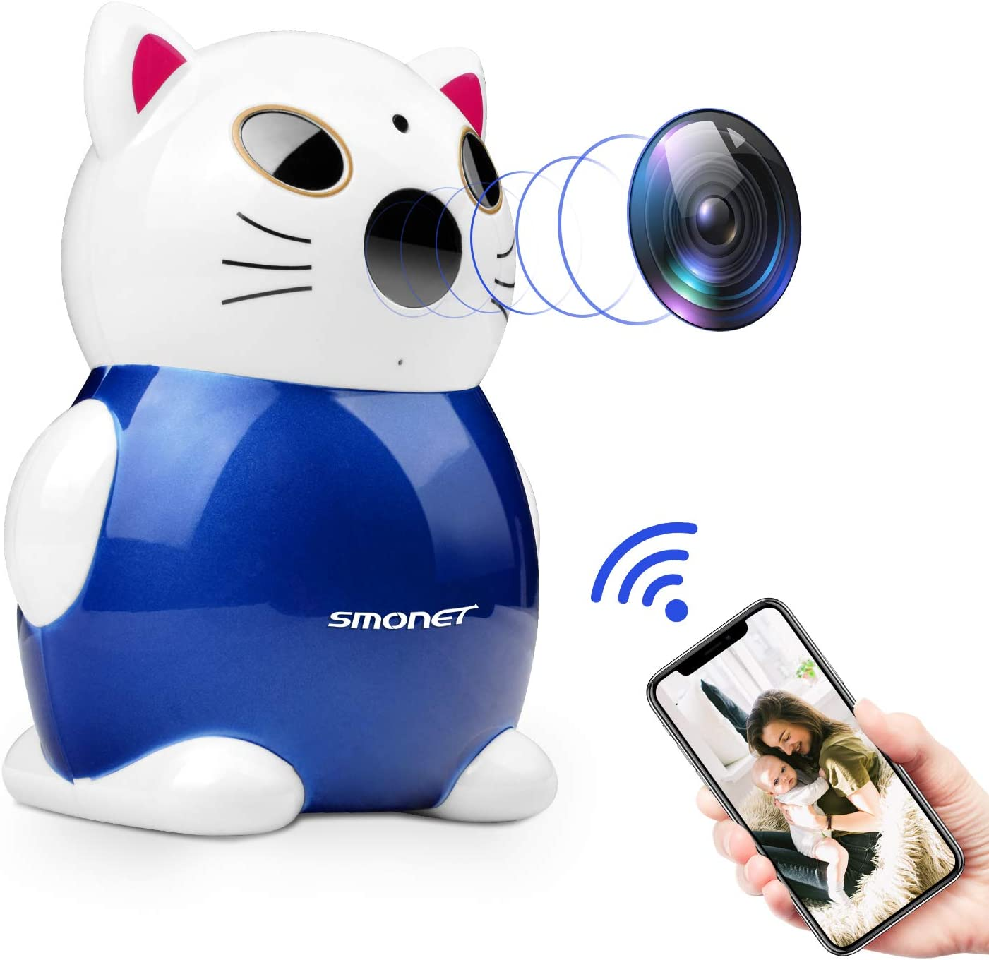SMONET Wireless Home Security Camera, Security Camera Wireless HD,as Wireless Baby Camera Motion Detector with Audio,Wireless Pet Camera for iPhone, Night Vision, Video Record