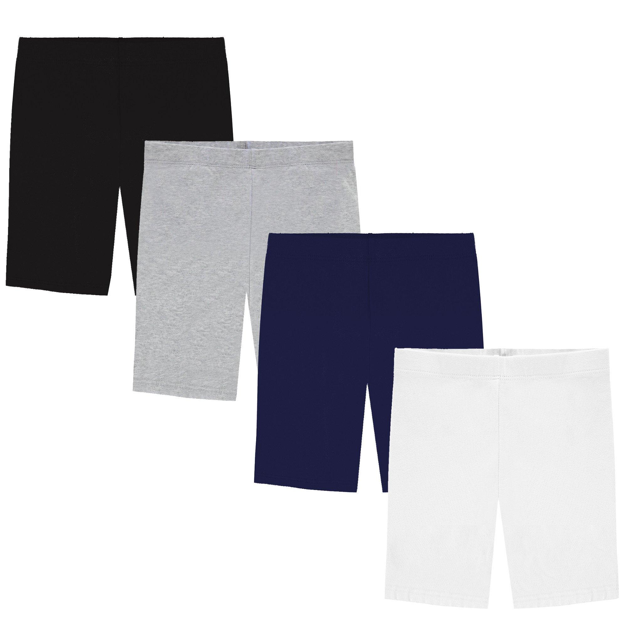 Popular Girl's Value Pack Long Cotton Bike Shorts - 4 Pack - Black, Grey, Navy, White - L