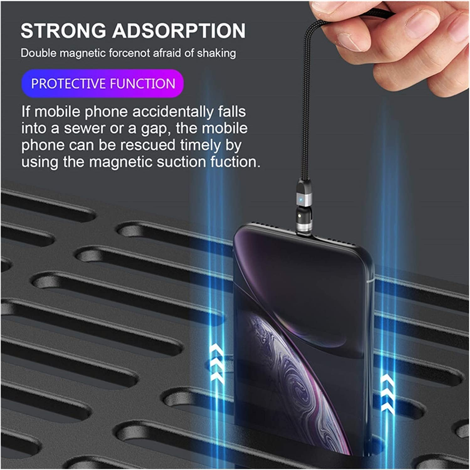 Color : For iPhone Sliver , Length : 2m Usb extension cable Magnetic USB Cable Fast Charging Type C Cable Magnet Charger Micro USB Cable Mobile Phone USB Cable 360/º+180/º Rotation cell phone cables