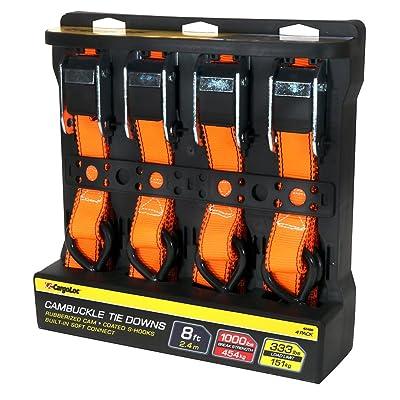 CargoLoc 42469 4 PCS 8' CAM-Buckle TIE Downs/ 1, 000 LBS Orange