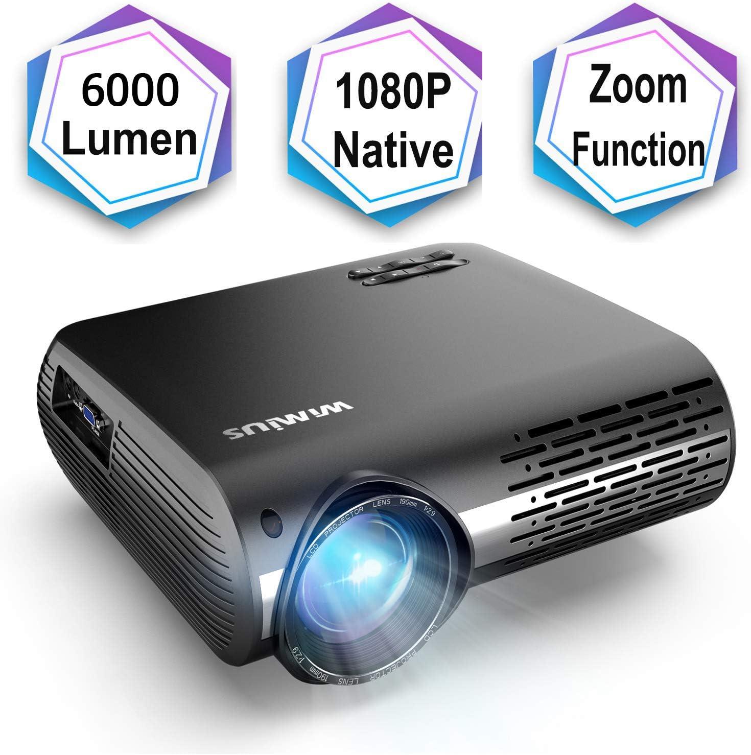 6000 Lúmenes Proyector, Full HD 1080P Proyector Cine en Casa con ...
