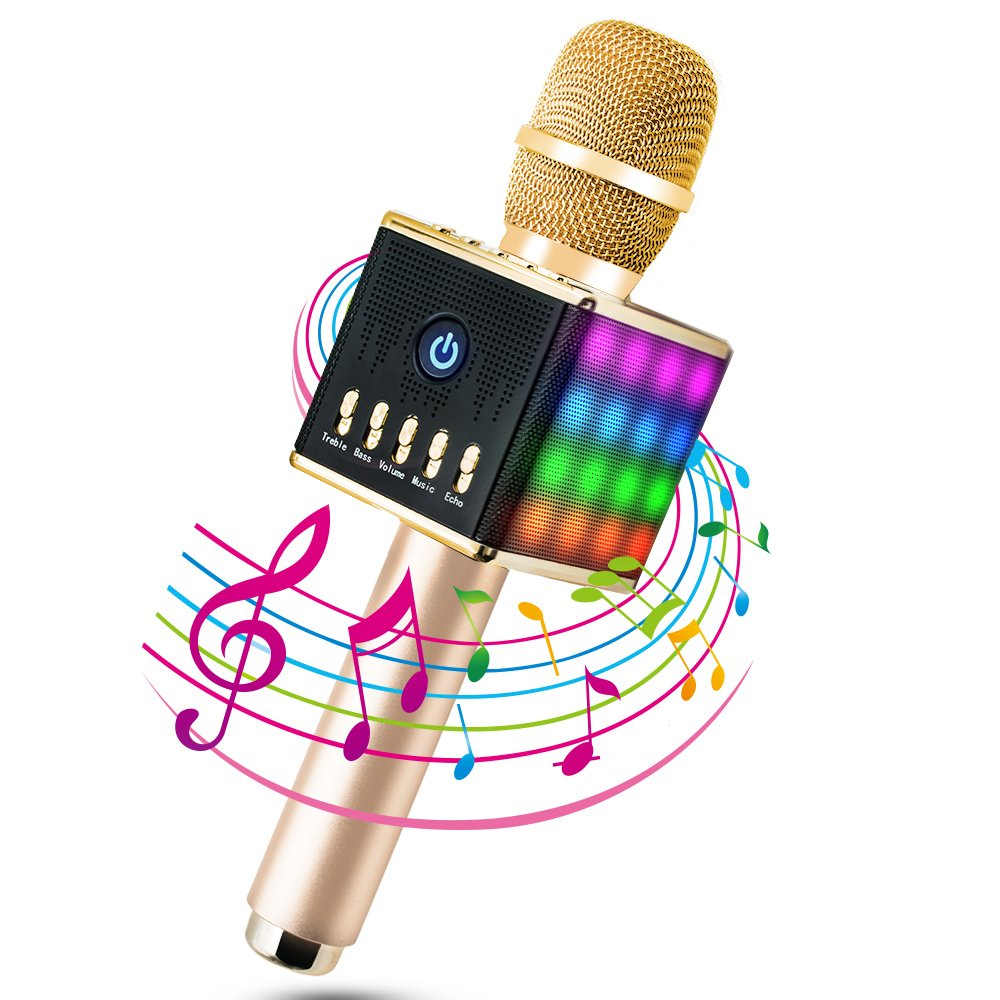 Wireless Microphone Karaoke, MODAR Portable Bluetooth Karaoke Microphone for iPhone Android Smartphone PC iPad Chargeable, handheld, Built-in Battery, Double Speakers for Home Outdoor Party KTV Playing(Black) A00048