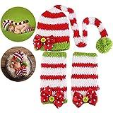NUOLUX Natale stile bambino neonato neonato uncinetto fatto a mano Beanie cappello vestiti bambino fotografia puntelli