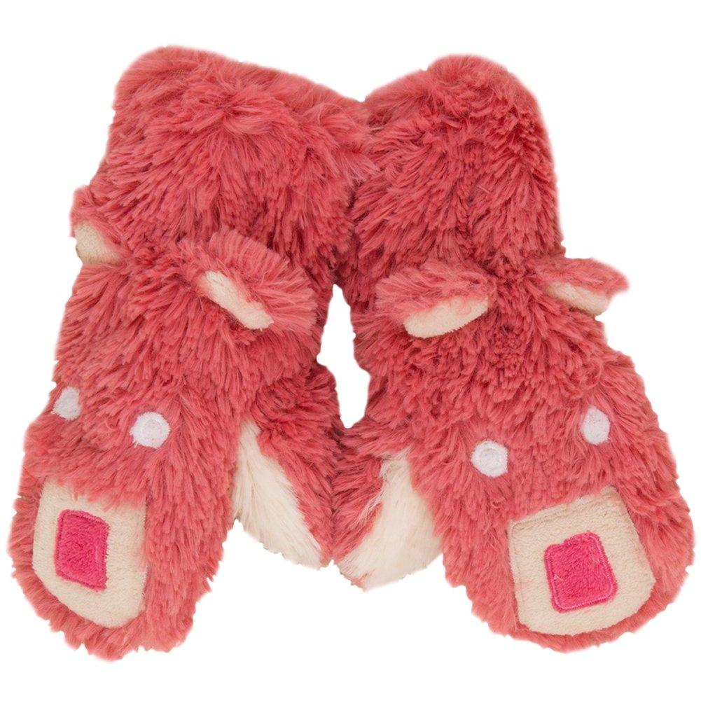 Animal World - Pink Bear Juvy Fuzzy Fleece Mittens - Large Pink