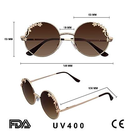 Emblem Eyewear - Womens Flower Floral Boho Round Mirror Sunglasses
