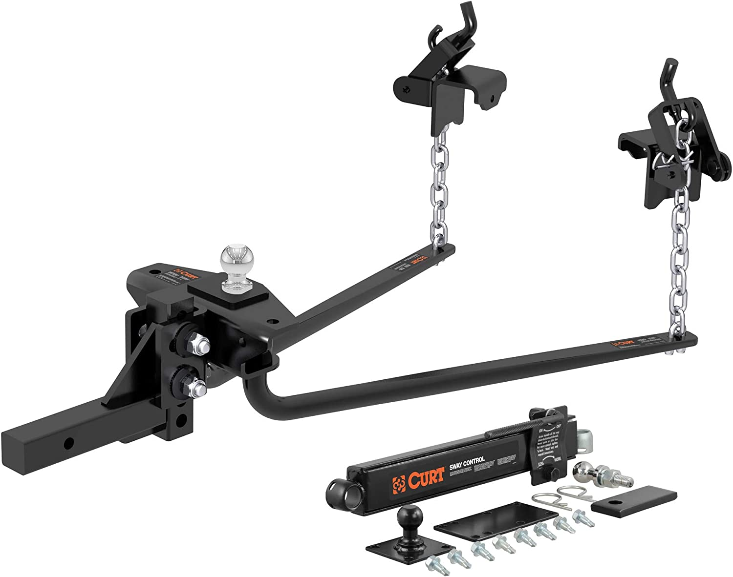 CURT 17022 Round Bar Weight Distribution Hitch with Sway Control
