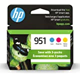 Original HP 951 Cyan, Magenta, Yellow Ink Cartridges (3-pack) | Works with HP OfficeJet 8600, HP OfficeJet Pro 251dw, 276dw,