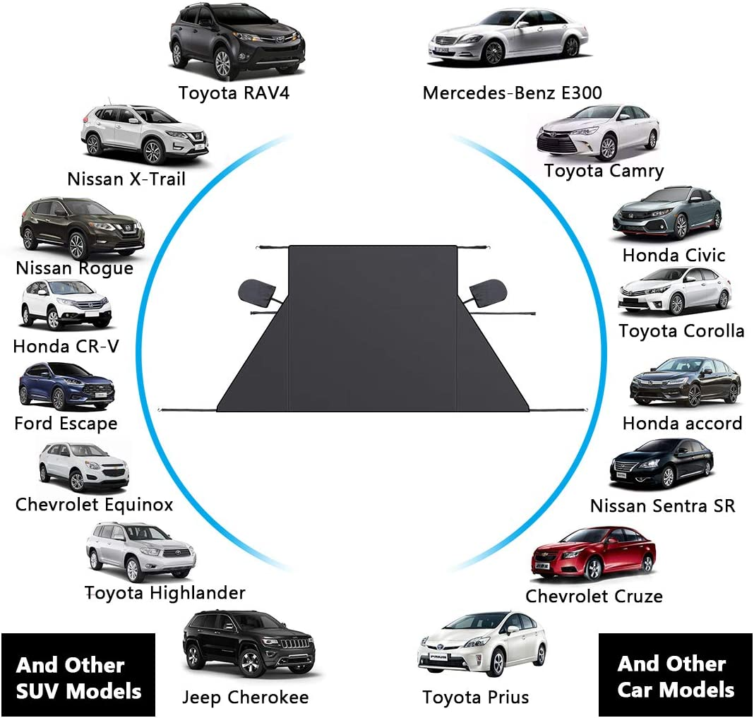 Snow Ice Frost UV Cover for Car Front and Side Windshield /& Rearview Mirror 2019 Upgrade Version Car Windshield Snow Cover Waterproof Car Snow Cover Extra Large Size Fits Most Cars and SUV