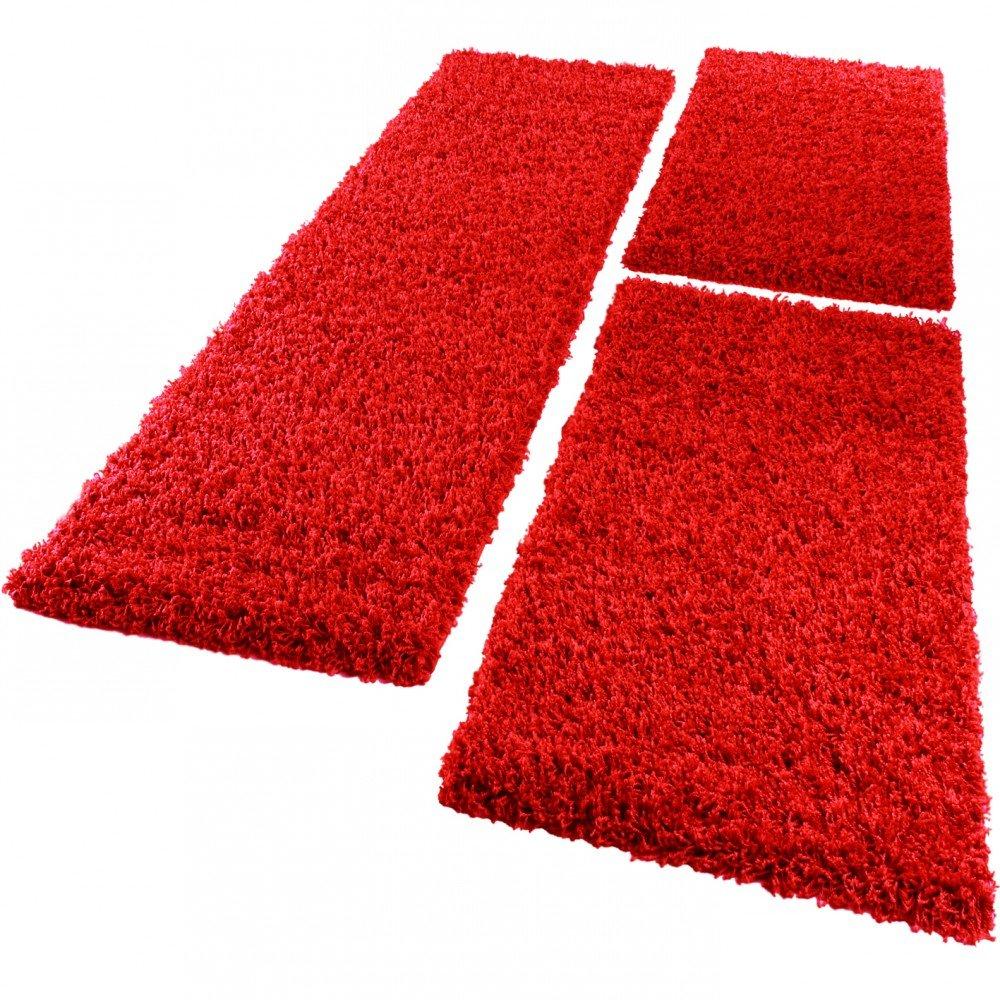 PHC Bettumrandung Läufer Shaggy Hochflor Langflor Teppich in Rot Läuferset 3Tlg, Grösse 2mal 70x140 1mal 70x250