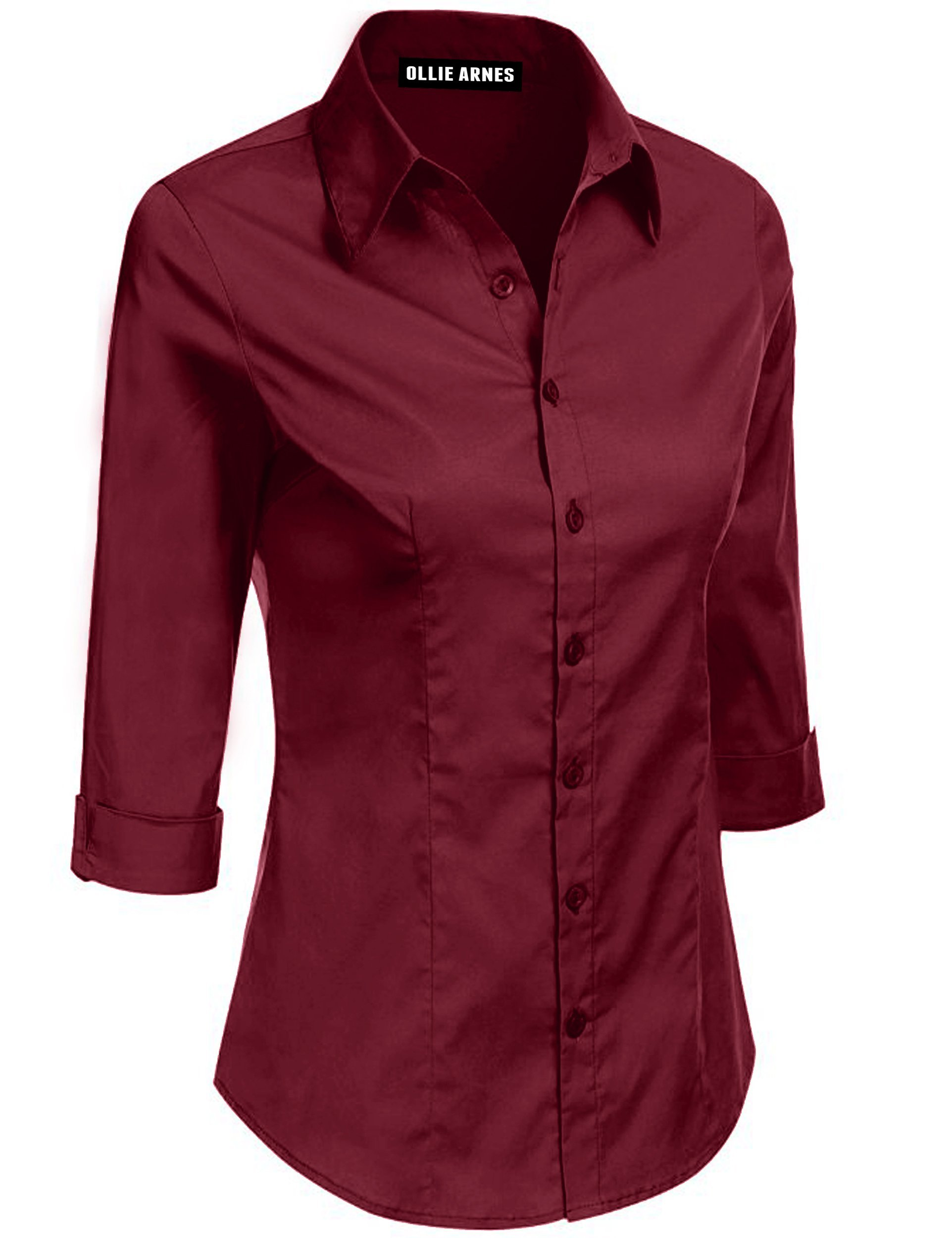 Ollie Arnes Womens Front Pocket Roll up Sleeve Button Bown Chiffon Cotton Blouse 5A_DKBURGUNDY M