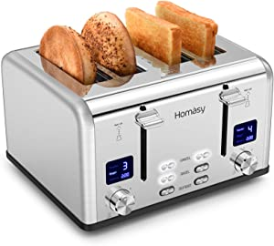 Homasy Toaster 4 Slice, Bagel Stainless Toaster with LCD Timer, Extra Wide Slots, Dual Screen, Removal Crumb Tray, Silver