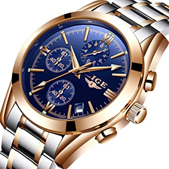 45068083b6ae3 Watches Men Stainless Steel Business Analog Quartz Watch Luxury Brand LIGE Waterproof  Sport Rose Gold Blue