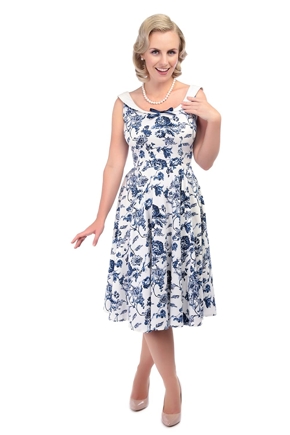 Collectif Vintage Women's Maddison Flared White & Blue Toile Print 1950's Dress