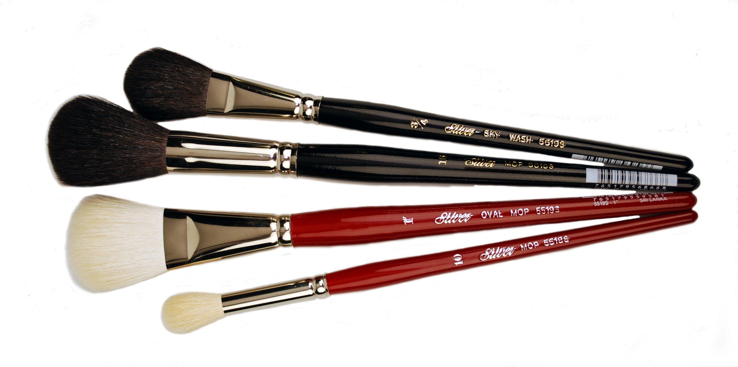 Silver Brush SMS-5599S Silver Mop Short Handle Multi Media Brush Set, 4 Per Pack