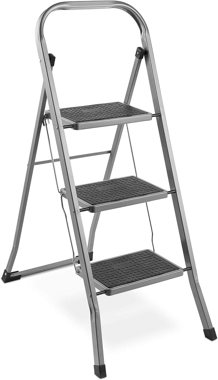 VonHaus Escalera De Acero de 3 Escalones - Antideslizantes - Diseño Plegable Fácil De Guardar - Ideal Para El Hogar/Cocina/Garaje: Amazon.es: Bricolaje y herramientas
