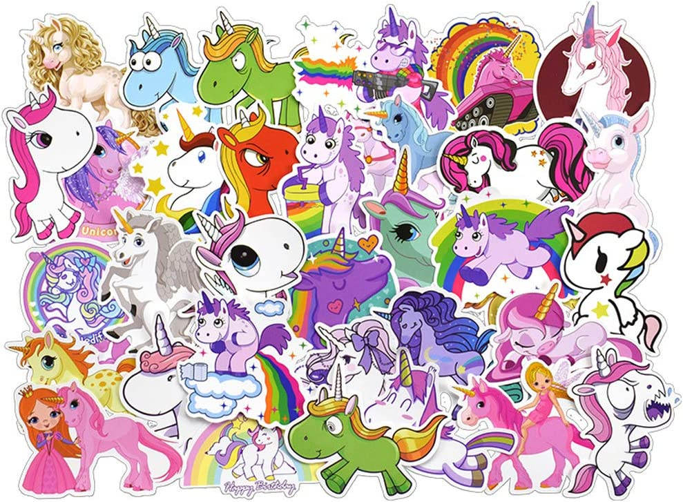 ZaroMaster 50Pcs Unicorn Stickers Cute Sticker Pack for Girl Boys Birthday Party Favors Waterproof Decals for Mobile Phone Guitars Skateboards Computers Keyboards Bicycle