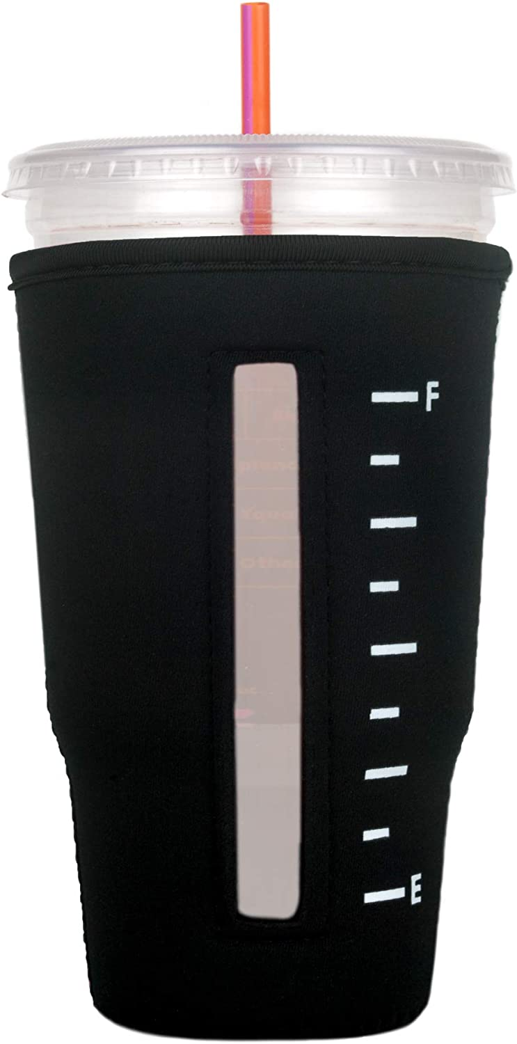 Insulated Neoprene Cup Sleeve/Holder for Iced Beverages, Coffee, and Tea (Black, Large)