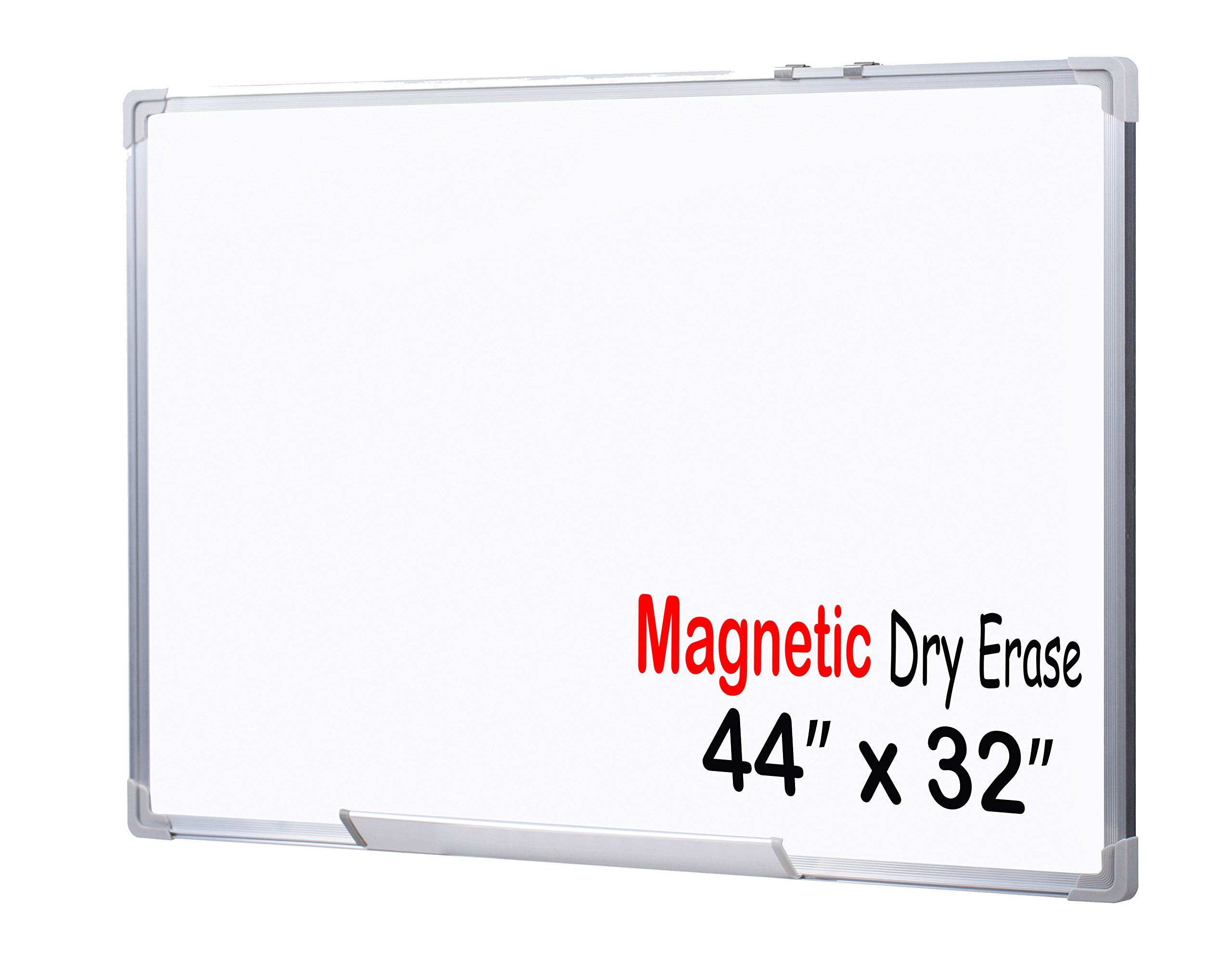 EGI Large Office Magnetic Dry Erase White Board with Aluminum Frame and Wall Mounting Brackets (44 x 32)