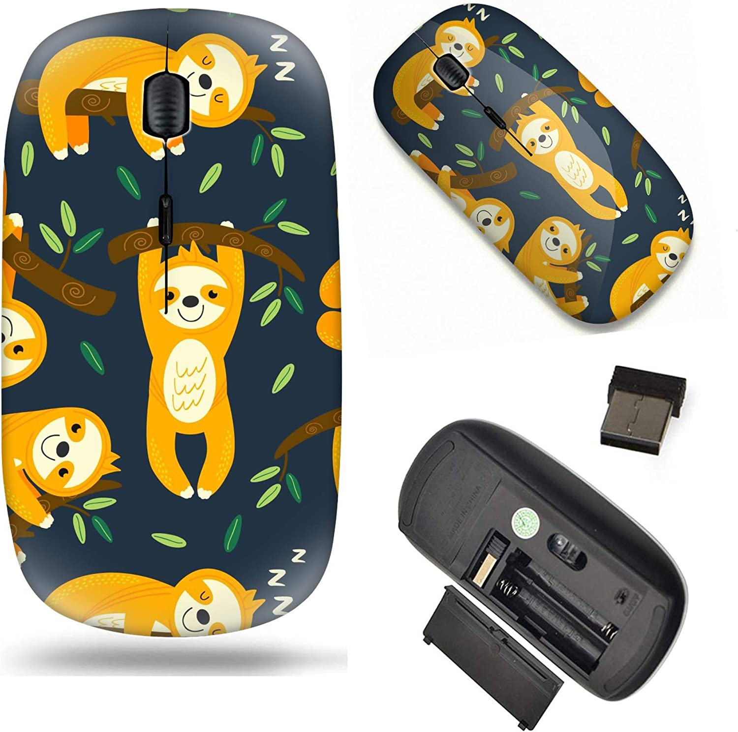 Unique Pattern Optical Mice Mobile Wireless Mouse 2.4G Portable for Notebook, PC, Laptop, Computer - Cartoon Pattern with Funny Sloths