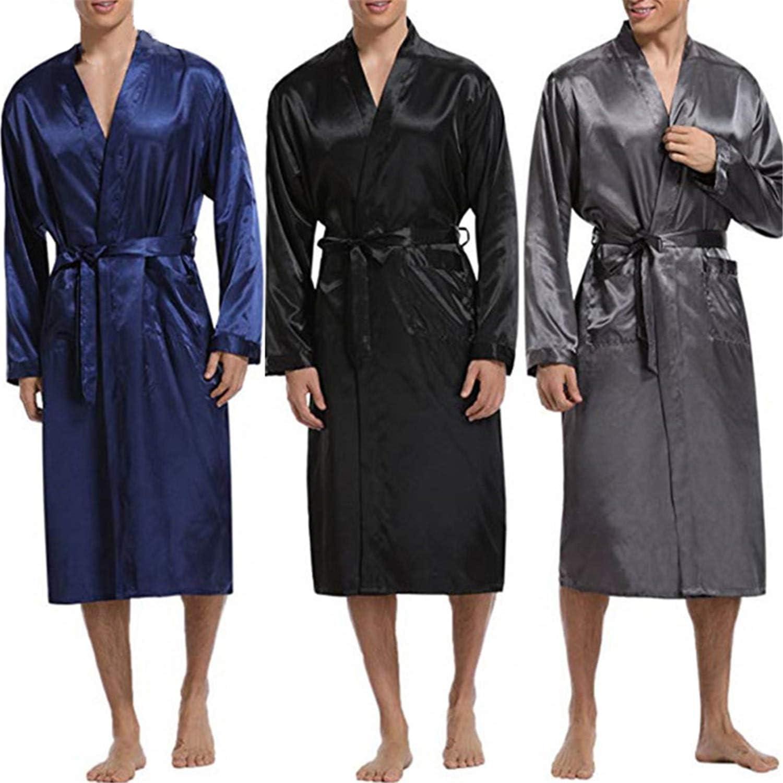 Silk Satin Mens Sleepwear Robe Long Sleeve Autumn Long Bathrobe Lightwear Removable Belt Pockets Gown Pajamas Navy