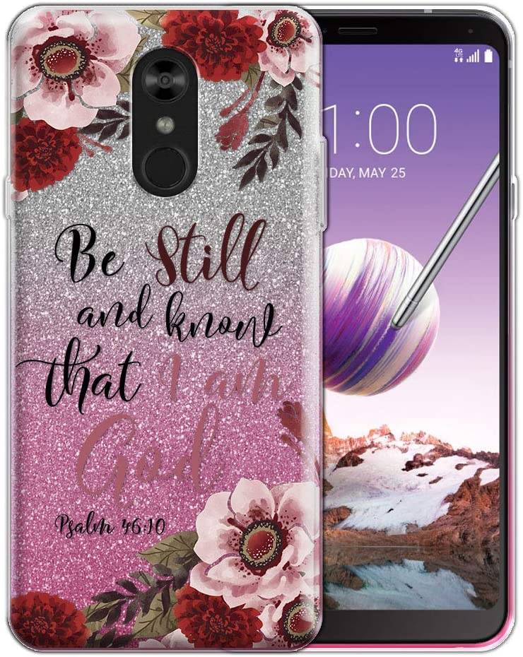 FINCIBO Case Compatible with LG Stylo 4, Shiny Sparkling Silver Pink Gradient 2 Tone Glitter TPU Protector Cover Case for LG Stylo 4 - Christian Bible Psalm 46:10