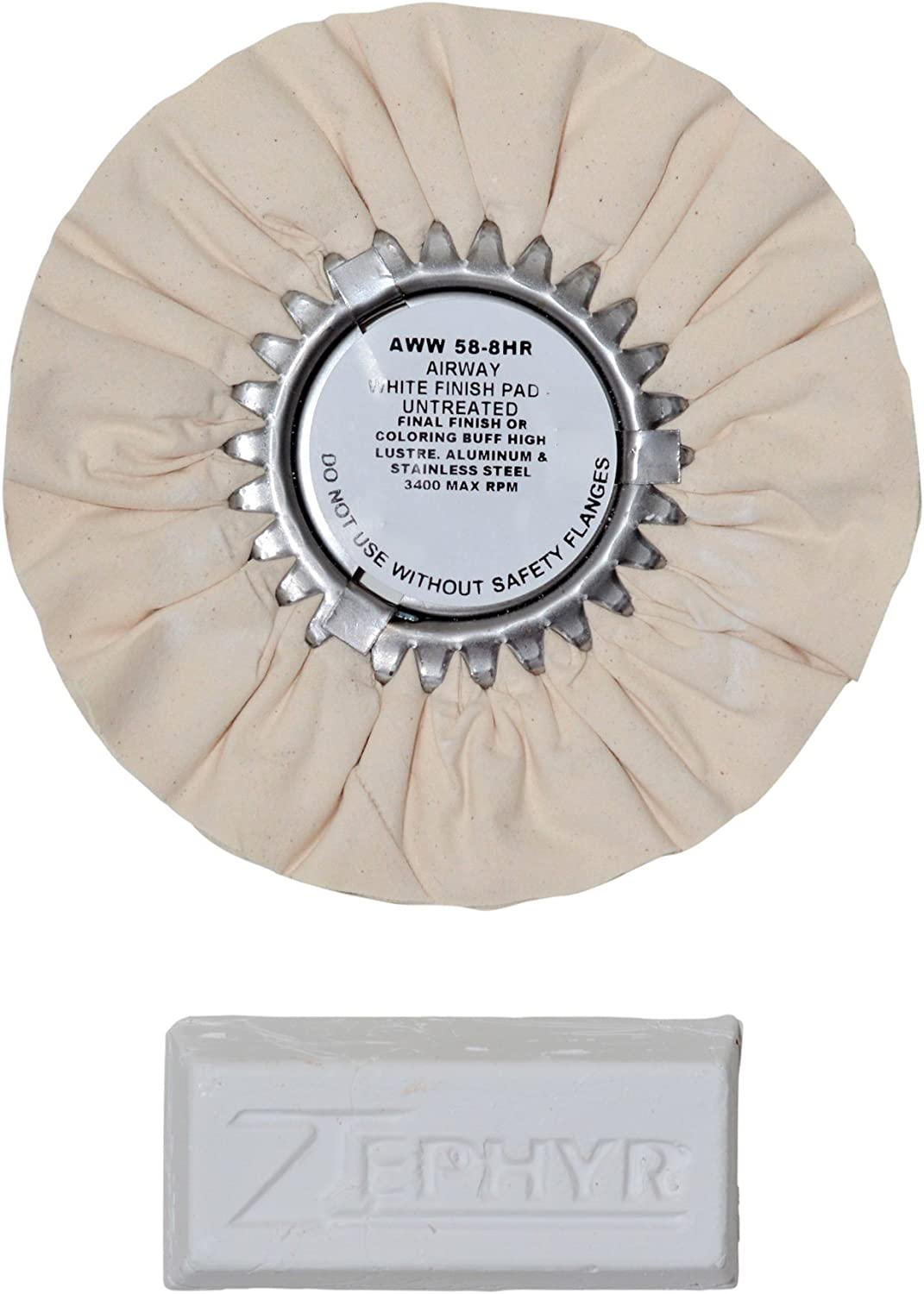 Zephyr AWW58-8WB White 8 Airway Buffing Wheel with 1 LB Bar Final Finish
