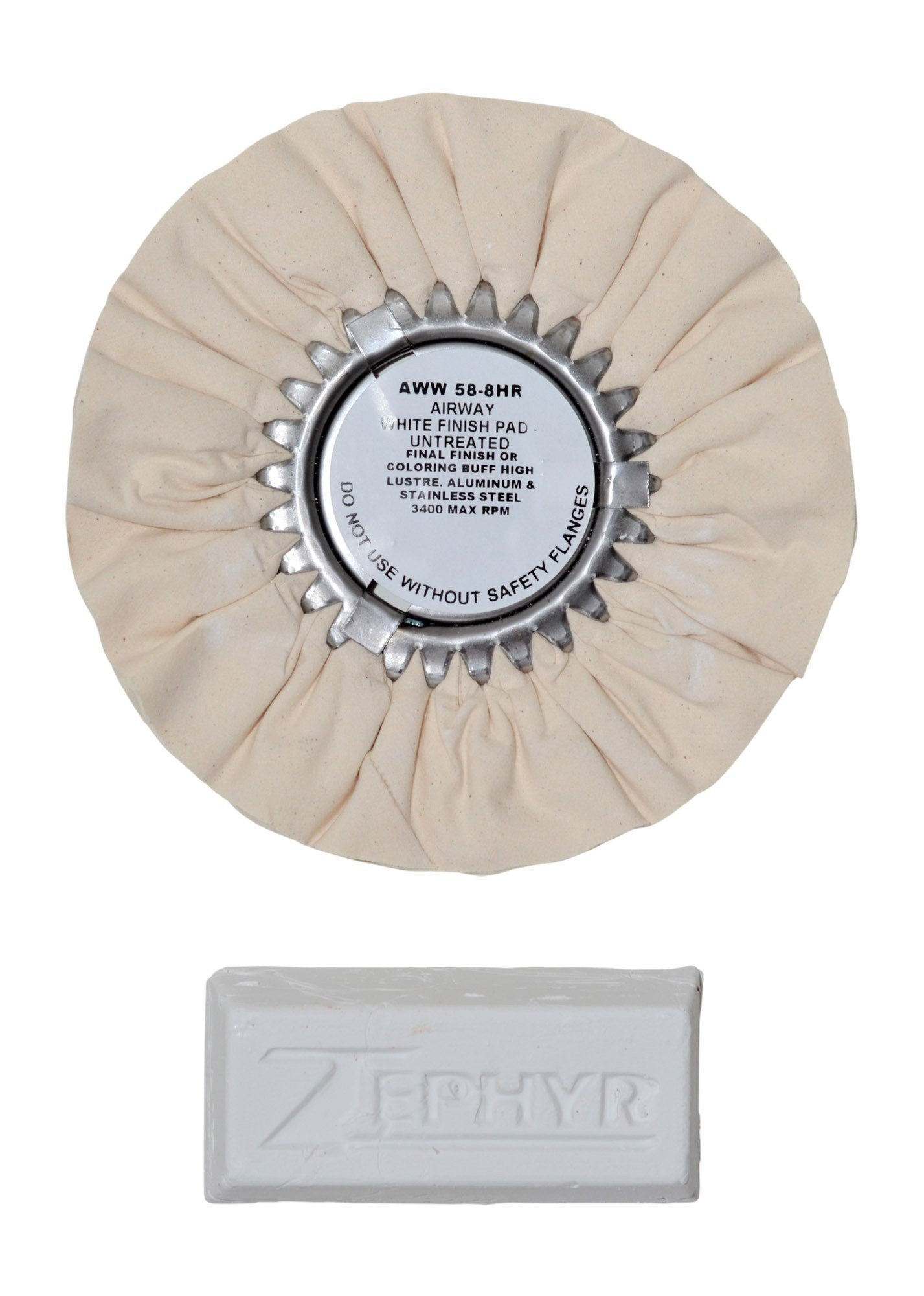 Zephyr AWW58-8WB White 8'' Airway Buffing Wheel with 1 LB Bar Final Finish