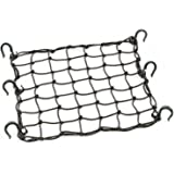 "Powertye 50152 Black 15""X15"" Cargo Net featuring 6 Adjustable Hooks & Tight 2""x2"" Mesh"