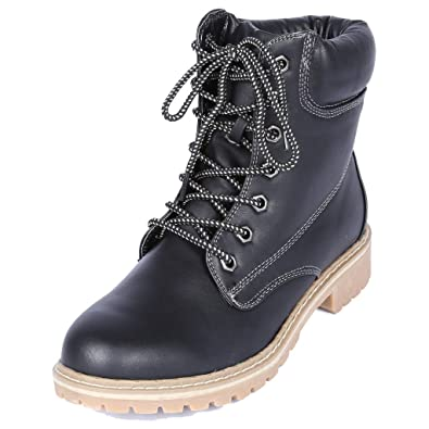 Womens Fashion Work Shoes Winter Ankle High Lace Up Combat Military Boots