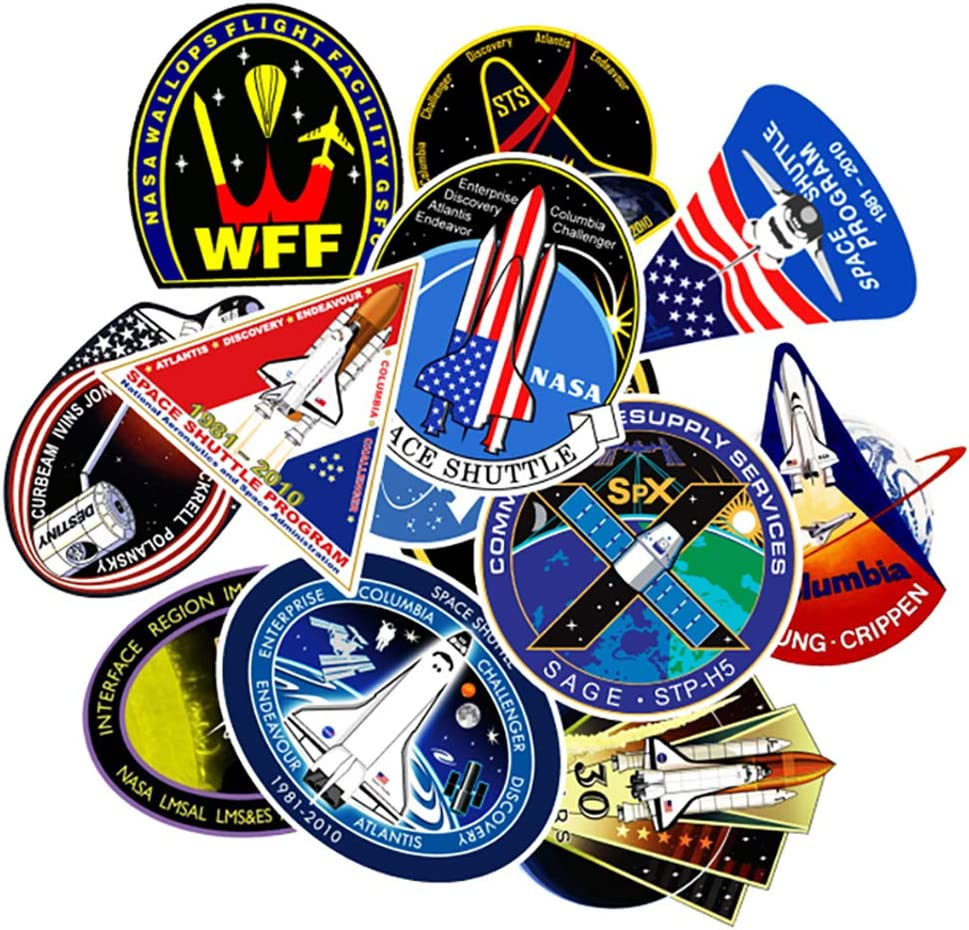 60pcs NASA Logo Decal Stickers Label for Luggage Laptop Cup Notebook Space Patch