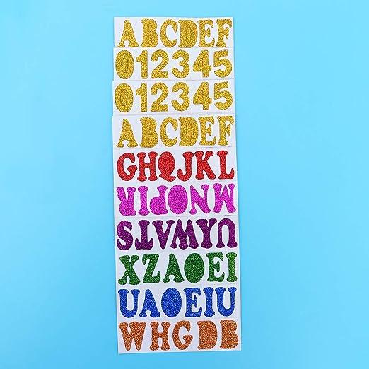 Colores Surtidos SUPVOX Suvox 200 Piezas 26 Letras Purpurina Pegatinas Espuma Puertas Adhesivo para ni/ños Pared DIY