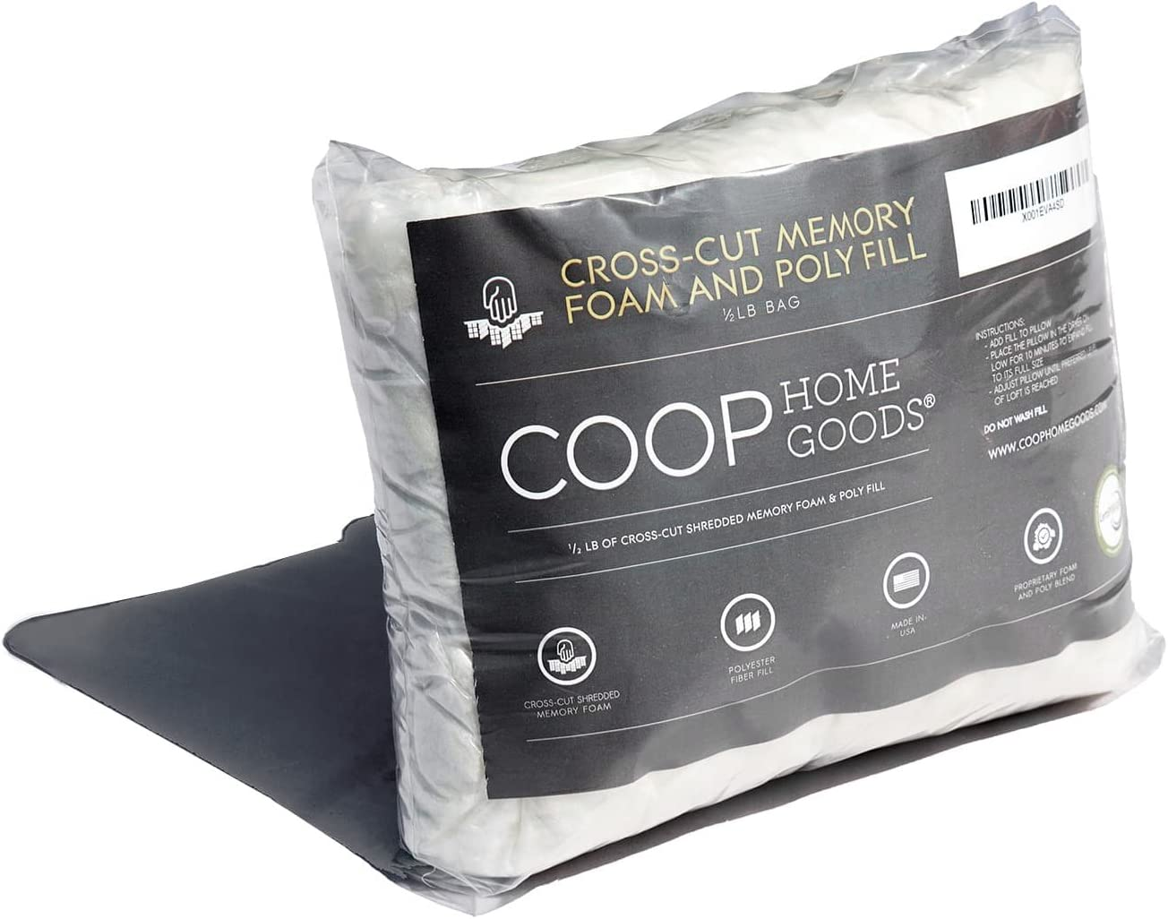 Coop Home Goods - Medium Density Cross-Cut Fill for Premium Adjustable Loft Pillow - ½ lb - CertiPUR-US Certified