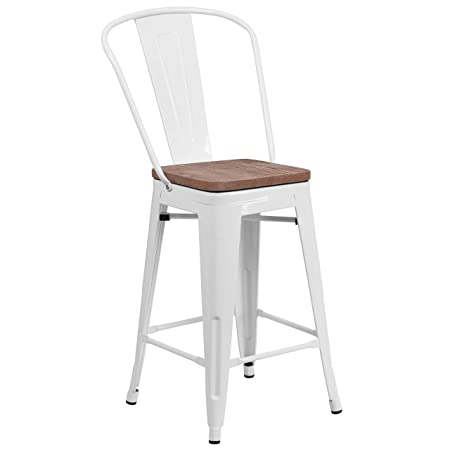 Taylor Logan 24 High White Metal Counter Height Stool with Back and Wood Seat