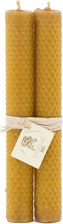 L Abella 100% Cera de Abejas Velas de España – Producto Natural – Directamente Desde el Apicultor – – Aroma de Miel en Mano – 2 Velas con Cada uno de Aproximadamente